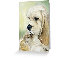 Cocker and Chick Oil Painting Greeting Card