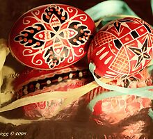 two beautiful red and black hand-painted Czech Easter eggs with  aqua and yellow ribbons by pogomcl