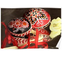 two elaborate red and black hand-painted Czech Easter eggs Poster