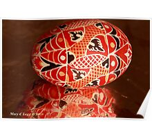 Large red geometrical Czech Easter Egg Poster