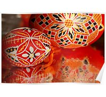 Two red geometrical Czech Easter Eggs Poster