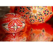 Two red geometrical Czech Easter Eggs Photographic Print