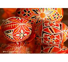 Three red and black geometrical Czech Easter Eggs Photographic Print