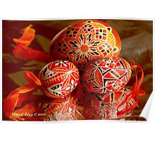 Three red and black geometrical Czech Easter Eggs Poster