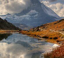 Matterhorn reflected in Lake, Zermatt by Tom Grieve