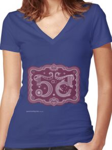 T-Shirt 55/85 (Social Security) by Dan Funderburgh  Women's Fitted V-Neck T-Shirt