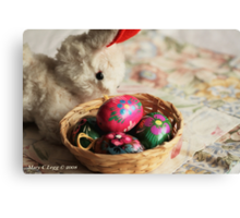 Easter Bunny inspects a basket of hand-painted wooden Czech Easter eggs Canvas Print