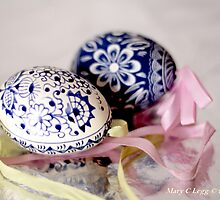 White egg, blue Czech Eggs by pogomcl