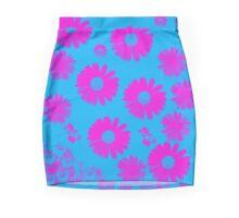 Bright pink Flowes on Turquoise Mini Skirt