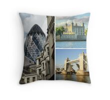 London - The Gherkin, The White Tower and Tower Bridge Throw Pillow