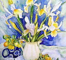 Dutch Iris with Cumquats by scallyart
