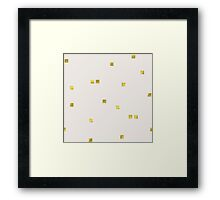 Scattered confetti pattern, golden rounds light cream background Framed Print