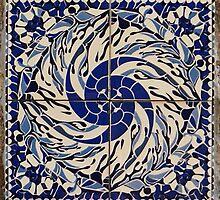 blue and white quadrants, tile design by BronReid