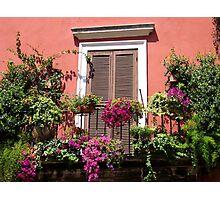 Flower adorned balcony... Photographic Print
