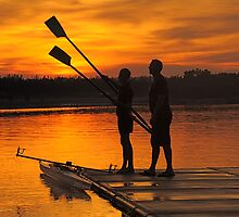 Father and son boating at Penrith NSW by Nick GARRATT