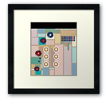 Modern Fashion Design Squares and Flowers Framed Print