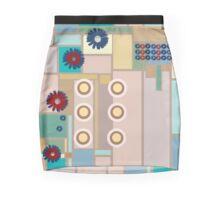 Modern Fashion Design Squares and Flowers Mini Skirt