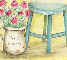Fresh Flowers - Chalk Painting by Vintage Nest  Designs