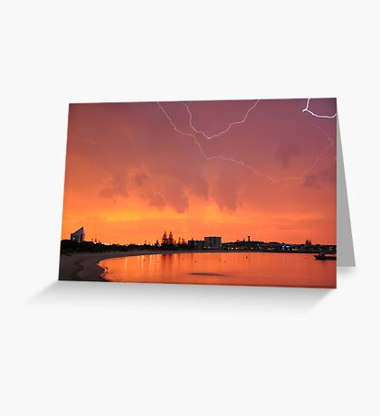 Sunset Lightning Koombana Bay Bunbury WA 22-3-10 Greeting Card