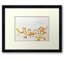 Birds on a Tree Limb with Holly Leaves Berries Framed Print