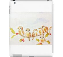 Birds on a Tree Limb with Holly Leaves Berries iPad Case/Skin