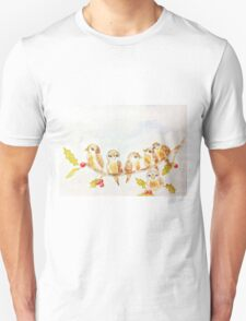 Birds on a Tree Limb with Holly Leaves Berries Unisex T-Shirt