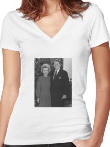 Ronald And Nancy Reagan Women's Fitted V-Neck T-Shirt