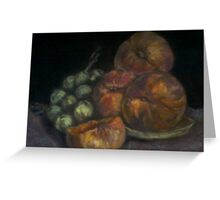 peaches and olives still life Greeting Card