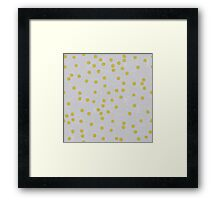 Gold Scattered confetti pattern on grey linen texture Framed Print