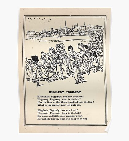 Miniature Under the Window Pictures & Rhymes for Children Kate Greenaway 1880 0014 Higgledy Piggledy Poster