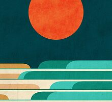 Red moon and chasing waves by Budi Kwan