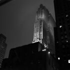 Rockerfeller Building At Night (B&W) by Paul Cryer