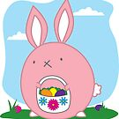 Easter Bunny with basket and eggs by monkeyjenn