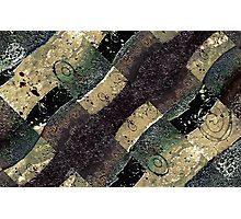 Geometric Abstract Grunge Prints in Cold Tones Photographic Print