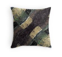 Geometric Abstract Grunge Prints in Cold Tones Throw Pillow