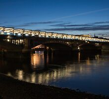 Midnight Lights on the Thames River - Blackfriars Bridge, London, UK by Georgia Mizuleva