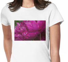 Petals and Drops - Magenta Glow Peony Womens Fitted T-Shirt