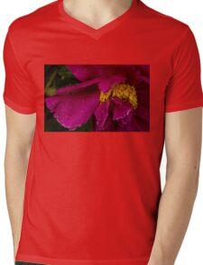 Petals and Drops - Hot Pink and Yellow Mens V-Neck T-Shirt