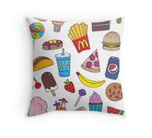 Yummy Foods Drawing Throw Pillow