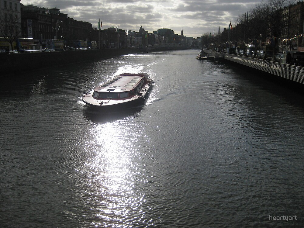 Sailing down the Liffey River Dublin, Ireland by heartyart