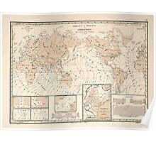 Atlas zu Alex V Humbolt's Cosmos 1851 0154 Earth Map Isorachien Poster