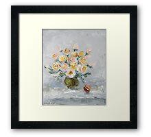 White roses on the table Framed Print