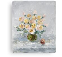White roses on the table Metal Print
