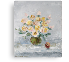 White roses on the table Canvas Print