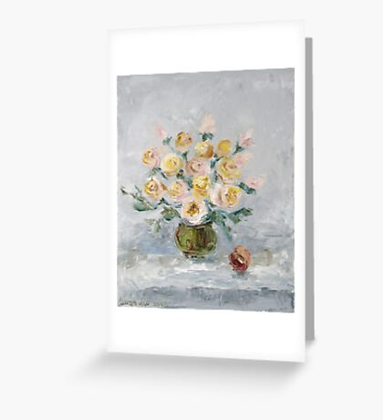 White roses on the table Greeting Card