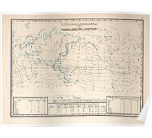 Atlas zu Alex V Humbolt's Cosmos 1851 0152 Electro Magnetic World Map Poster