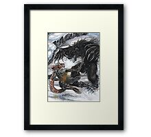 Werebear Battle Framed Print