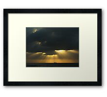 in the morning dark there golden light from above Framed Print