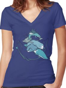 Stacks on Blue! Women's Fitted V-Neck T-Shirt