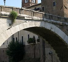 Ponte Fabricio across the Tiber River, Rome by BronReid